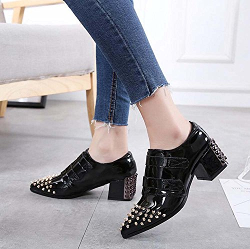 Punk Zapatos Chunkly 40 Toe Zapatos Bullock vestir Black Zapatos 37 color Remaches Heel 5cm Color Corte 5 Hermoso Pump Shoes Eu Mujer puro punta de Velcro Size Zapatos Tamaño 34 Casual 8F7wq0xE