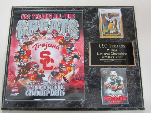 USC Trojans 11 Time National Champions 2 Card Collector Plaque
