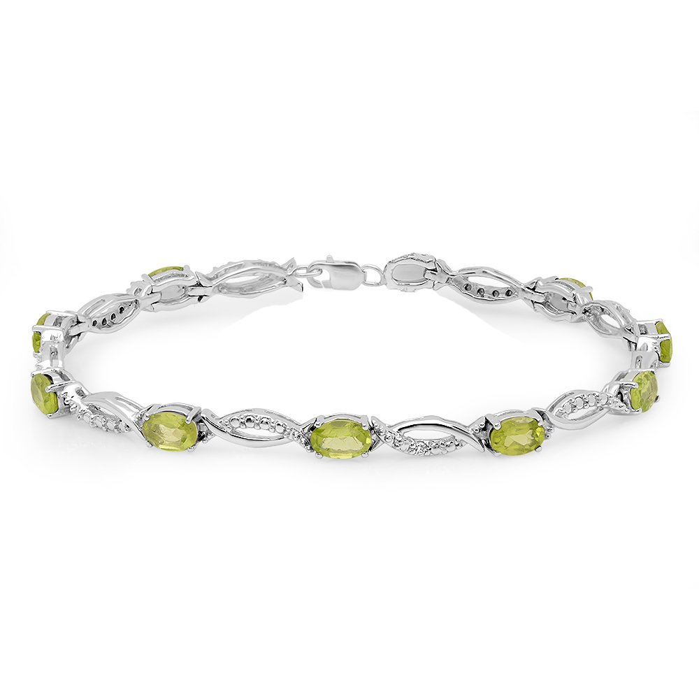 Sterling Silver Real Oval Cut Genuine Peridot & Round Diamond Ladies Link Bracelet