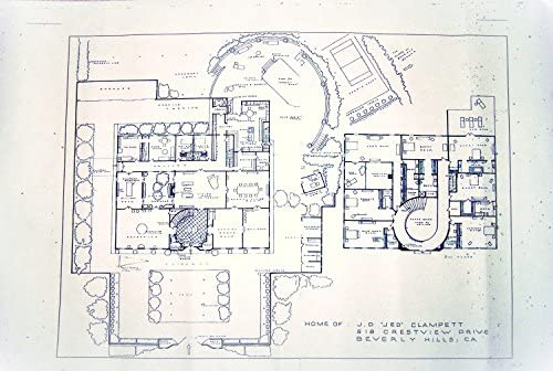 Amazon Com The Beverly Hillbillies Tv Show House Home 518 Crestview Drive Beverly Hills California Full Size Blueprints 24 X 36 Entertainment Collectibles
