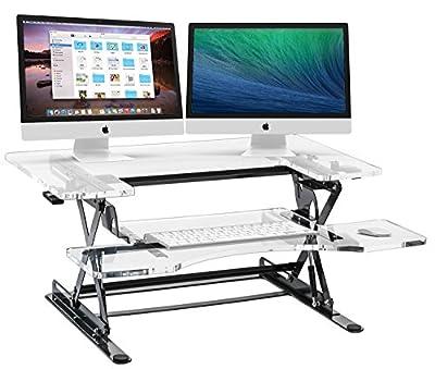 Halter ED-258ACR Acrylic Preassembled Height Adjustable Desk Sit / Stand Desk Elevating Desktop