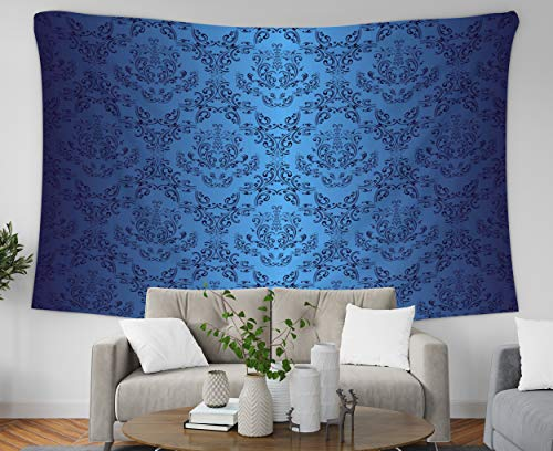 (Asdecmoly Bohemian Tapestry Wall Hanging, Huge Tapestry for Living Room and Bedroom 80 Lx60 W Inches Dark Blue Wallpaper in Style Retro Art Printing Inhouse)