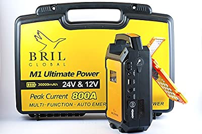 BRIL POWER M1. 12V & 24V Multi-Function Heavy Duty Car Jump Starter 36000mAh Booster Emergency Power, Cars, Trucks, RVs, Campers, Boats, Trailers Auto Start Power & Ultra-bright LED Flashlight for SOS & High Capacity Power Bank for Cell Phones Tablets 8 b