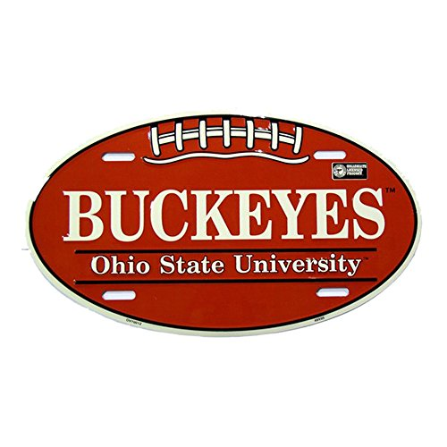 Ohio State University Buckeyes Embossed Novelty Vanity Metal Oval License Plate Tag Sign OV70012