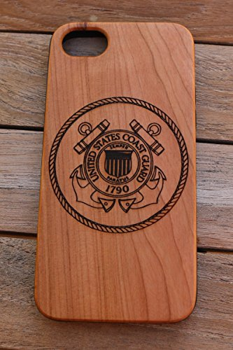 - (CH7P) United States Coast Guard Logo Custom Engraved On A Cherry Wood Phone Case With Flexible TPU Sides For IPhone 6Plus, 7Plus And 8Plus (CH7P-USCG)
