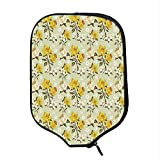 YOLIYANA Floral Durable Racket Cover,Spring Season Image with Foliage and Dotted Background with Line Art Decorative for Sandbeach,One Size