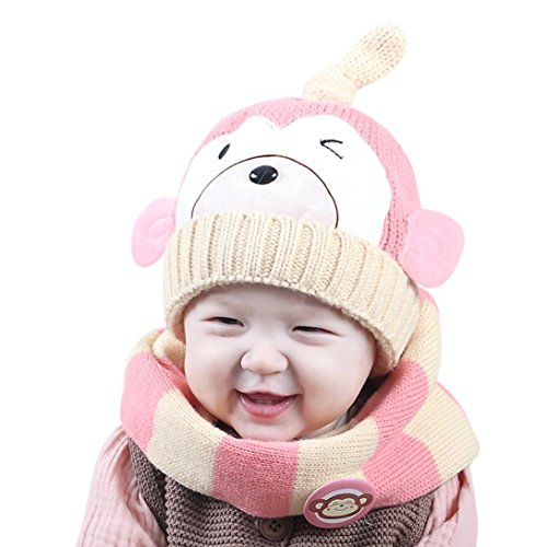 baby-scarf-and-hattodaies-boys-girls-kids-cartoon-monkey-hat-scarf-2pcs-child-knitting-warm-hats-cap