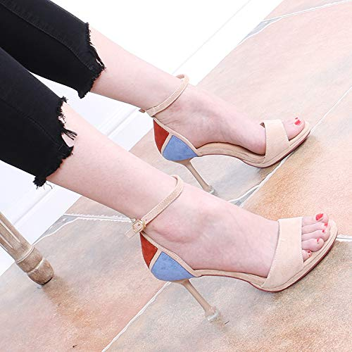 Fine Refreshing Sandals Heel High 9Cm Color Buckles Shoes Black Belt Wild Small And SFSYDDY Matching Summer Oq4XF8wxq