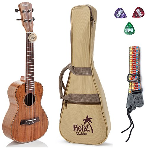 Concert Ukulele Deluxe Series by Hola! Music (Model HM-124KA+), Bundle Includes: 24 Inch Koa Ukulele with Aquila Nylgut Strings Installed, Padded Gig Bag, Strap and Picks - Limited Edition