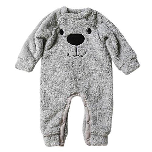 3 People Matching Costumes (Winsummer Unisex Baby Onesie Costume Animal Romper Plush Flannel Outwear Pajamas Jumpsuit Playwearit (Gray, 0-6M))
