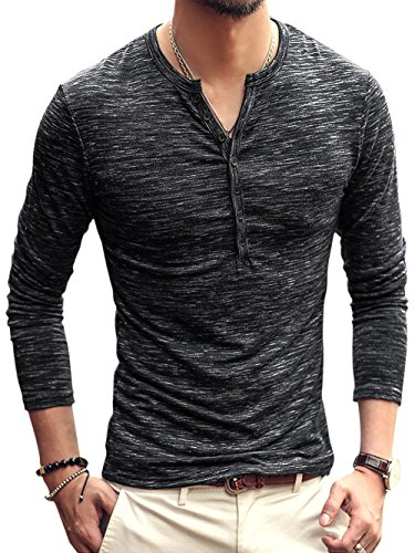 (Men V Neck Henley Sweatshirt Basic Casual Raglan Stretchy Relaxed Fit Pullovers Black / US)