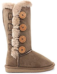 Kids Girls Wooden Button Faux Fur Lined Shearling Mid Calf Winter Boots