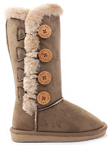 Kids Girls Amy Chestnut Wooden Button Faux Fur Lined Shearling Mid Calf Winter Boots-4