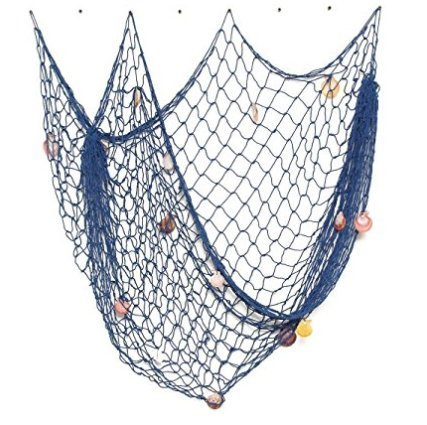 "Decorative Blue Nautical Fishing Net with Shells - Seaside Wall Beach Party Sea Shell Décor, Authentic Hangings Decor - Perfect Decoration for Your Home, Restaurant or Boat - (78.5""x59"")"