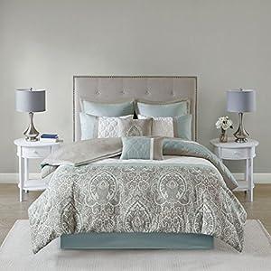 510 DESIGN Shawneel 8 Piece Bedding Comforter Set for Bedroom, Queen Size, Seafoam