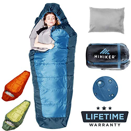 HiHiker Mummy Bag + Travel Pillow w/Compact Compression Sack - 4 Season Sleeping Bag for Adults & Kids - Lightweight Warm and Washable, for Hiking Traveling & Outdoor Activities (Blue)