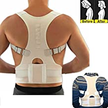 uxcell® Mother's Day Gift White Fully Adjustable Posture Correction Back Pain Support Brace Belt Band