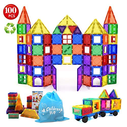 Children Hub 100pcs Magnetic Tiles Set - Educational 3D Magnet Building Blocks - Building Construction Toys for Kids - Upgraded Version with Strong Magnets - Creativity, Imagination, Inspiration