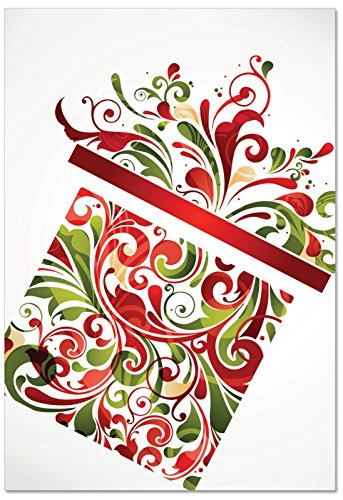 B6030AXSG Box Set of 12 Seasonal Swirls Christmas Greeting Card Featuring Decorative Swirling Patterns in Seasonal Colors Shaped Like a Present; with Envelopes (Present Swirl)