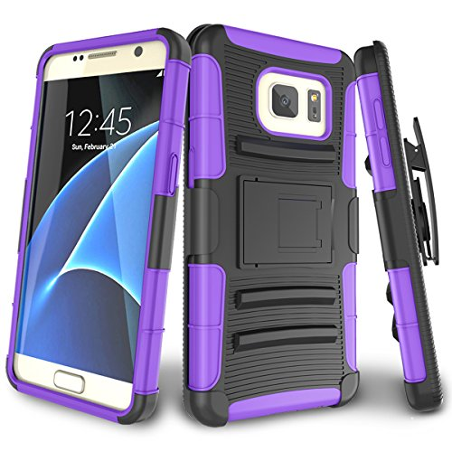 Galaxy S7 Case,TILL [Knight Armor] Heavy Duty Full-Body Rugged Holster Resilient Armor Case [Belt Swivel Clip][Kickstand] Combo Cover Shell for Samsung Galaxy S7 S VII G930 GS7 All Carriers [Purple]]()
