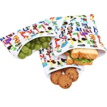 Wegreeco Reusable Snack Bags - Set of 3 - Reusable Sandwich Bags (Animal Alphabet)