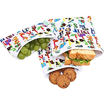 Wegreeco Reusable Snack Bags, (Set of 3) - Animal Alphabet
