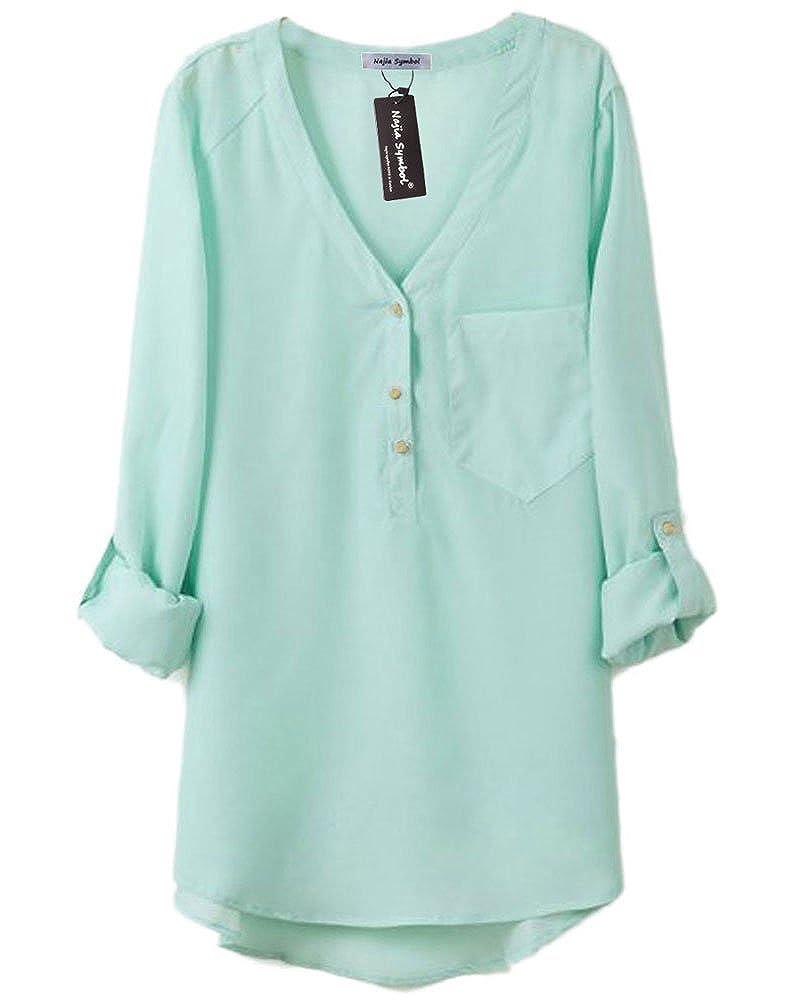 Najia Symbol Womens Summer Casual Long Sleeve Sheer Chiffon Shirts ...