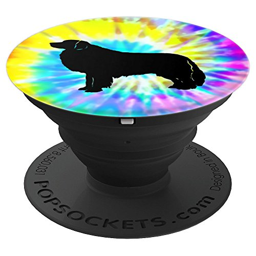 Great Pyrenees Dog Silhouette with Puppy Tie Dye Prints - PopSockets Grip and Stand for Phones and Tablets -