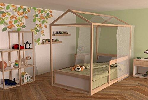 Casa de sueños, Cama Montessori Individual y Repisa Cuentos Nordica De Madera para Niños Kit