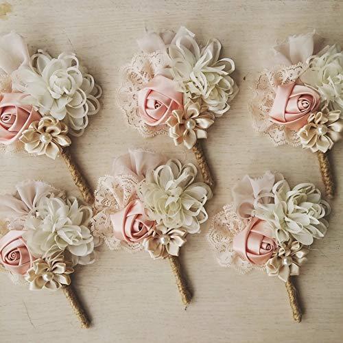 (Wedding boutonniere, men buttonhole, groom boutonniere, lapel pin, lapel flower, blush boutonniere)