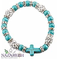 Handmade Marble Beads Bracelet Charm Crystals Stretchable Holy Land