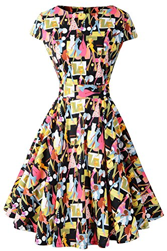 Chicanary Women's Cap Sleeve Vintage Tea Dress with Belt Lady XX-Large