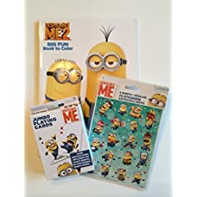 Despicable Me Minion Activity Bundle - 3 Items: 32-page Coloring & Activity book; Jumbo Playing Cards; 72 Stickers (4 sheets)