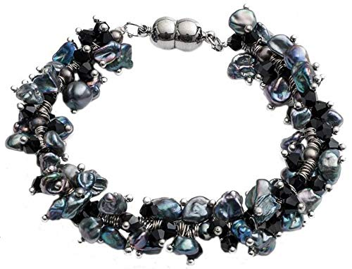 (Pearls of the Orient Womens Keishi Pearl and Crystal Bracelet - Black)