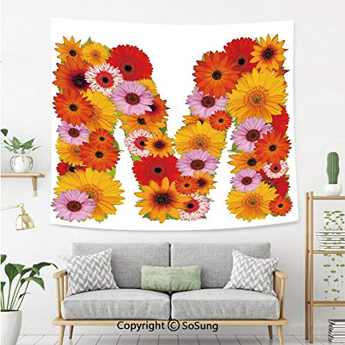 8' Wool Purse - Letter M Wall Tapestry,Flower Alphabet with Gerbera Daisies Natural World Written Language Summer Foliage Decorative,Bedroom Living Room Dorm Wall Hanging,92X70 Inches,Multicolor