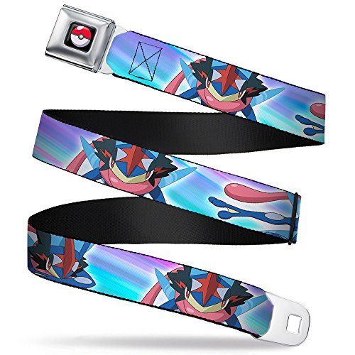 Buckle-Down Seatbelt Belt - Ash-Greninja 2-Poses Wavy Stripe Pinks/Purples/Blues - 1.0