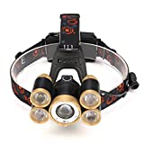 Gold 35000LM Zoom 5X XM-L T6 LED Rechargeable Headlamp Headlight Travel Head Torch
