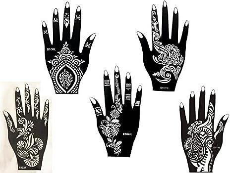 Kit de plantillas 5 con diseños de Henna para manos de Mehandi. También adecuadas para tatuajes de brillantina y aerógrafo. De usar y tirar: Amazon.es: ...
