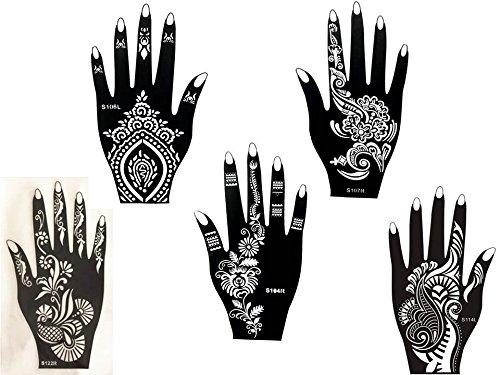 5 Feuilles Mehndi Tatouage Pochoir pour la main Set H Mehndi Tatouages au henné - pour tatouage au henné, tatouage paillettes et aérographe tatouage Beyond