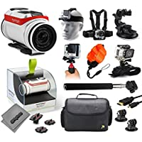 TomTom Bandit 4K Action Camera with Headstrap + Chest Harness + Suction Cup + Handgrip + Floaty Strap + Wrist Hand Glove + Selfie Stick + Large Padded Case + HDMI Cable + Tripod adapter
