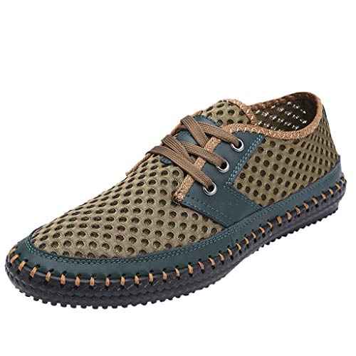JUSTWIN Summer Shoes Casual Flat Shoes Fashion Breathable Soft Hollow Slipper Solid Color Lace-up Shoes Green (Kd 9 Fire And Ice For Sale)