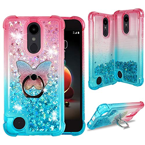 LG Aristo 3 2 Plus Case, LG Tribute Empire Dynasty, LG Fortune 3 2, LG Rebel 4 3 LTE, LG Zone 4, Phoenix 4 [Liquid Glitter Bling] Clear Case w/Cute Phone Ring by Zase (Gradient Pink Aqua)