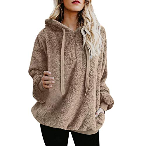 Sunhusing Women's Solid Color Long Sleeve Hooded Jacket Warm Fluffy Winter Top Pullover Jumper Light Khaki