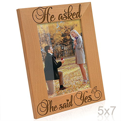 Kate Posh - He Asked, She Said Yes Engraved Natural Wood Picture Frame - Engagement Gifts, Best Friends Gifts, Valentine's Day Gifts, Christmas Gifts, Future Mr. & Mrs. Gifts (5x7-Vertical) ()