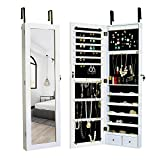 Elpitha Jewelry Cabinet Lockable Jewelry Armoire Wall Door Mounted Jewelry Organizer with 6 LEDs and 2 Drawers,White