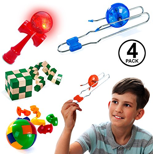 Tigerdoe Gyro Wheels - 4 Pc Set - Rail Twirler - Kendama Toy - Brain Teasers - Magnetic Gyro Wheel - Toys for Kids Magnetic Brain Teaser