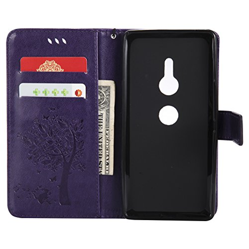 Case Case Pattern Leather with XZ2 3D Function Xperia Stand Colorful Leather Cat Shockproof Case Sony Kickstand Xperia Flip Wallet Holde Herbests Xperia Sony Sony XZ2 Embossing XZ2 PU Case Purple Tree Card RwqOB4xt
