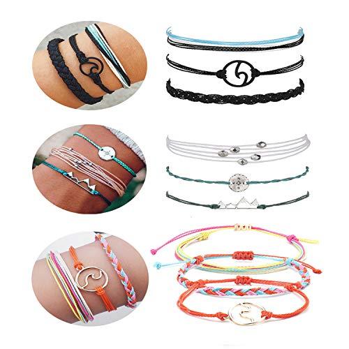 - J Meng Wave Bracelet Adjustable Waterproof Ocean Wave Braided Rope String Bracelet for Woman (B:Black+Pink+White)