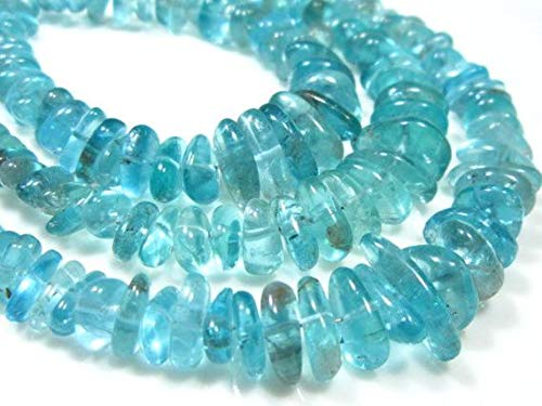 GemAbyss Beads Gemstone Blue Apatite Smooth Fancy Nuggets- 8 Inch Long Strand -Stones Measure -4-10mm Code-MVG-10608 - Fancy Nugget
