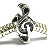 Queenberry Sterling Silver Music Note G Treble Clef Melody Bead For European Chamilia Biagi Troll Pandora Charm Bracelets